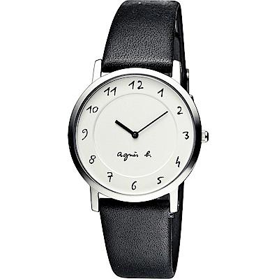agnes b.法式優雅手寫體時標時尚腕錶(BG4001P1 7N00-0BC0S)