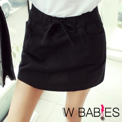 正韓 簡約素面彈性抽繩褲裙 (黑色)-W BABIES