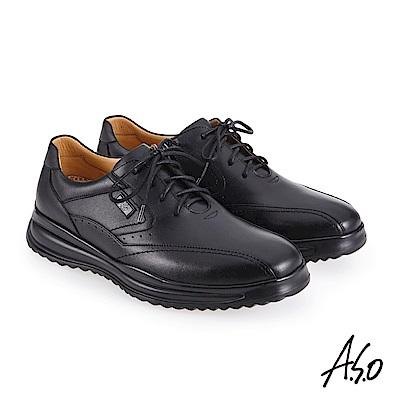 A.S.O機能休閒 萬步健康鞋 內腰拉鍊設計款商務休閒鞋-黑
