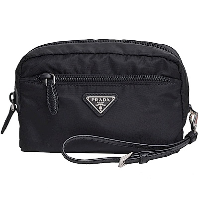 PRADA Vela 品牌圖騰三角牌尼龍可拆式手拿/化妝包(黑色)