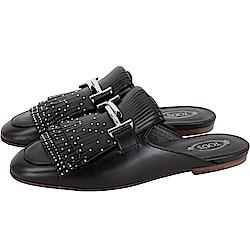 TOD'S DoubleT 流蘇鉚釘牛皮穆勒鞋(女款/黑色)