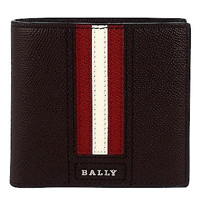 BALLY TRASAI品牌字樣經典紅白條紋咖啡色皮革短夾(零錢袋)