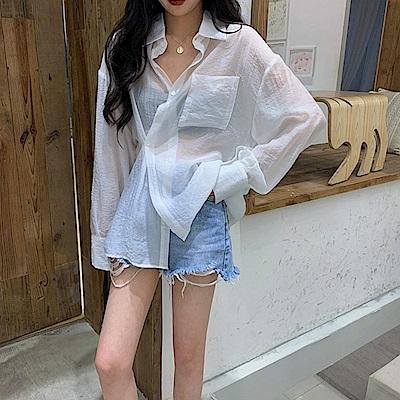 韓國空運 薄透防曬襯衫-3色-TMH
