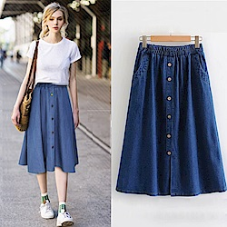 La Belleza鬆緊腰半圓弧側口袋背單口袋木釦下擺開叉牛仔裙