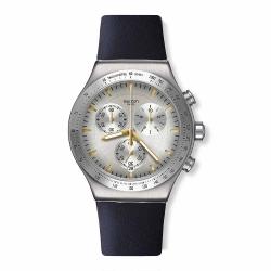 Swatch 金屬系列 DARKMEBLUE 金屬-銀色計時錶 -43mm
