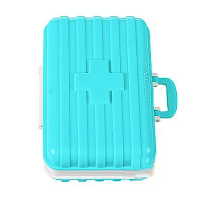 iSFun 隨身收納 行李箱造型6格藥盒 4色可選