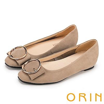 ORIN 甜美素雅 牛皮金屬圓型釦環平底娃娃鞋-可可
