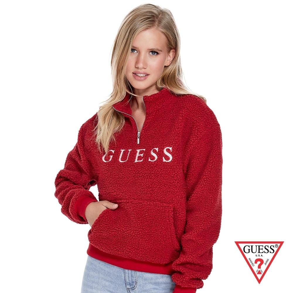 GUESS-女裝-羊羔毛長袖上衣-紅 原價2990