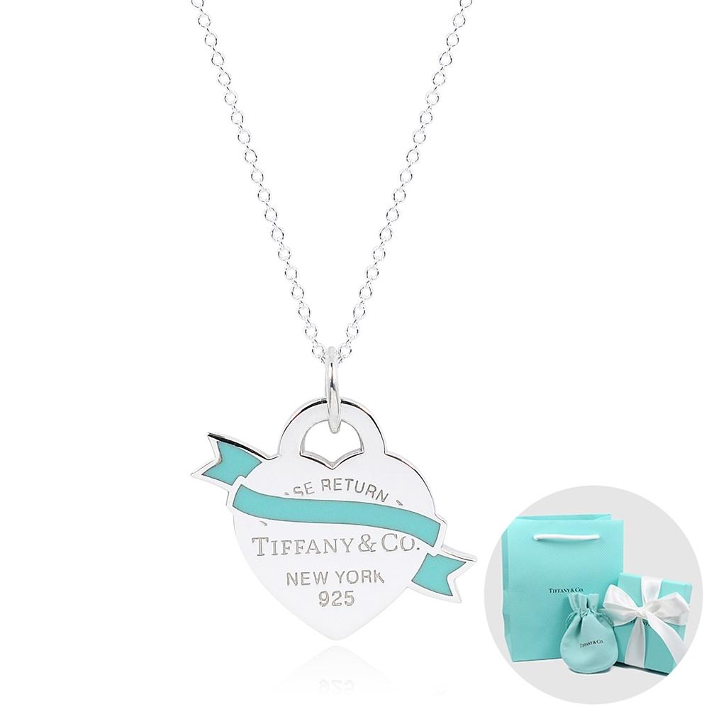Tiffany&Co. Return to Tiffany 經典藍色琺瑯緞帶愛心純銀項鍊
