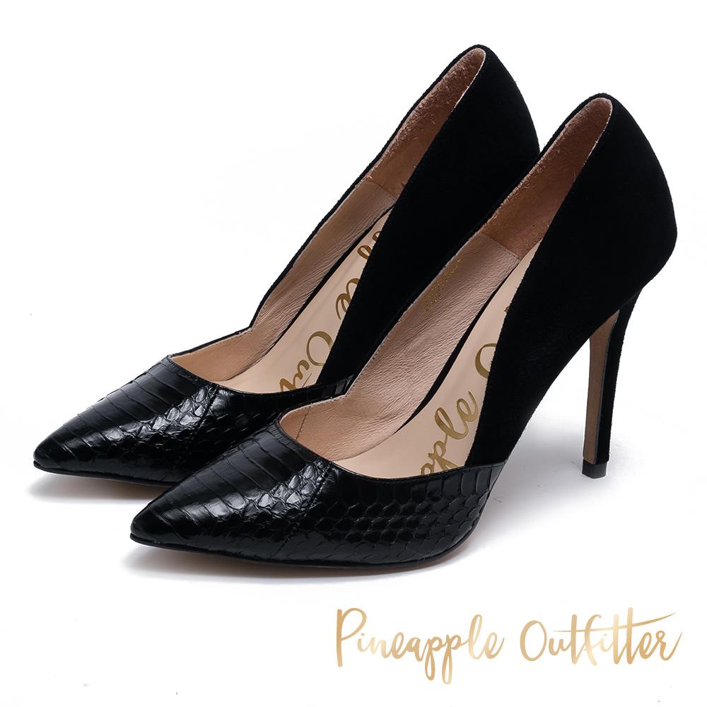 Pineapple Outfitter 究極質感 真皮拼接高跟鞋-黑色