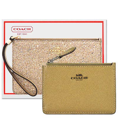 COACH 金色亮片噴砂造型手拿包-中型+COACH 金屬光澤防刮皮革鑰匙零錢包