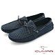 【CUMAR】時尚休閒 牛皮綁帶帆船鞋-藍 product thumbnail 1