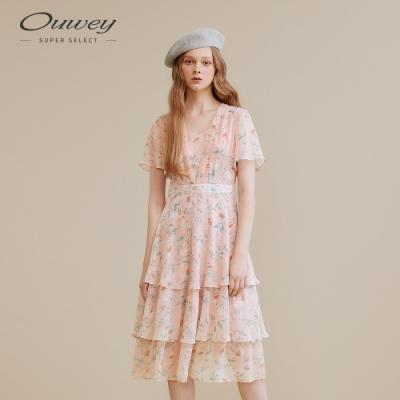 OUWEY歐薇 花卉V領雪紡洋裝(粉)