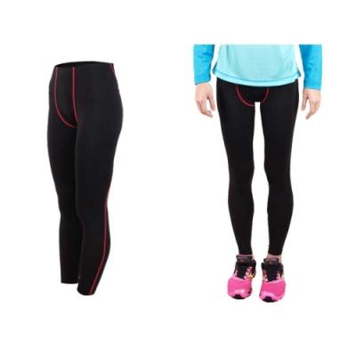 FIRESTAR 女機能緊身長褲-慢跑 路跑 馬拉松 黑桃紅