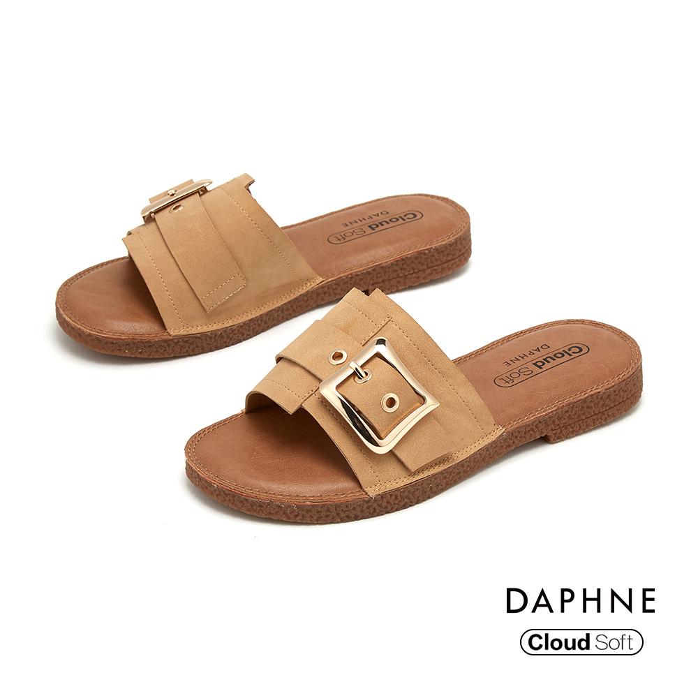 達芙妮DAPHNE 涼鞋-幾何車線拚接皮帶方扣造型舒軟平底拖鞋-棕色