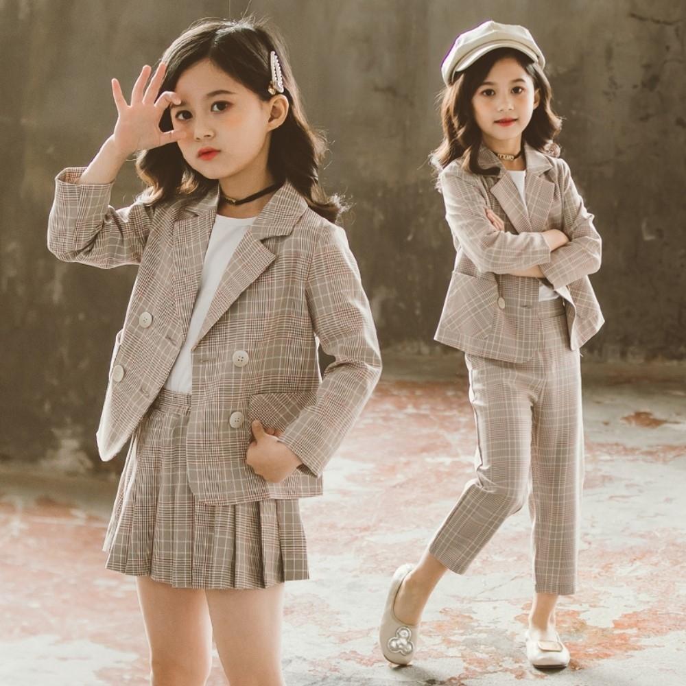 小衣衫童裝 秋冬季中大童女孩雙排扣西裝外套二件式套裝1090906