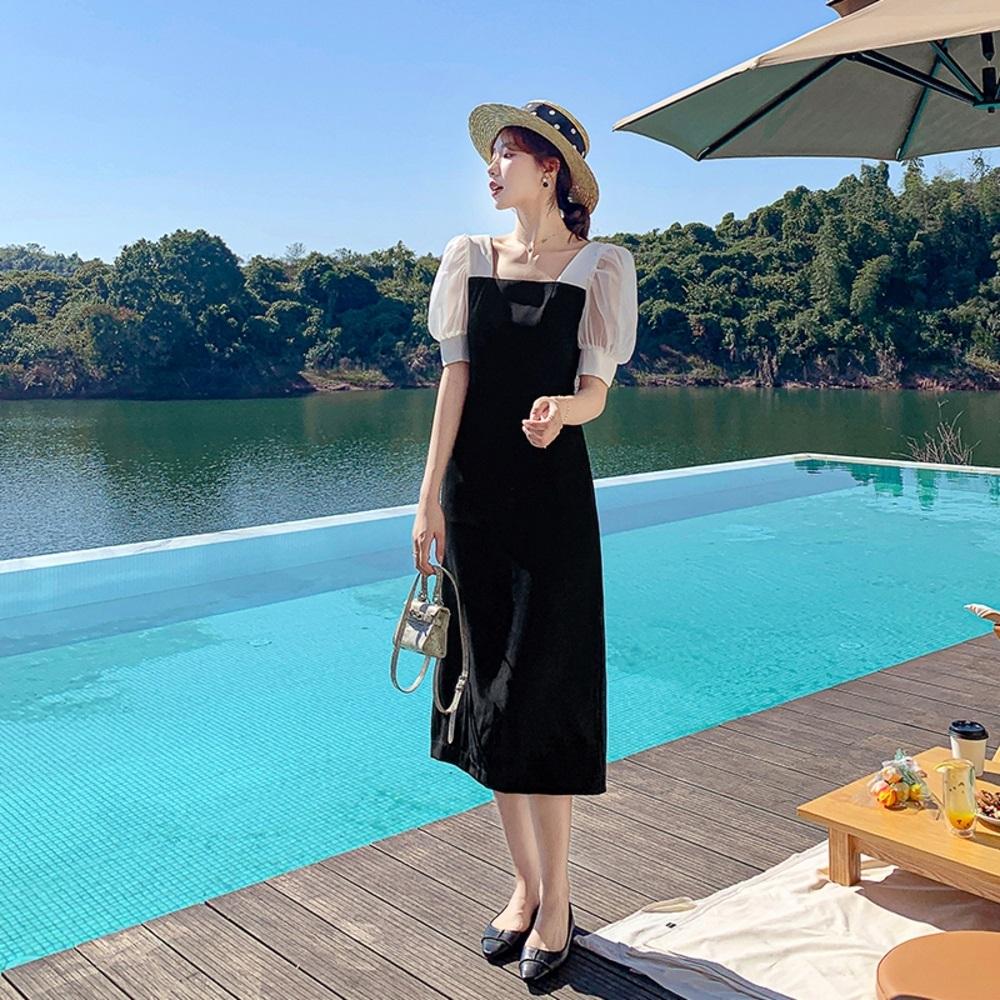 法式優雅撞色拼接方領淑女洋裝M-L-Dorri