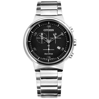 CITIZEN 星辰表 光動能計時碼錶日期防水100米不鏽鋼手錶-黑色/41mm