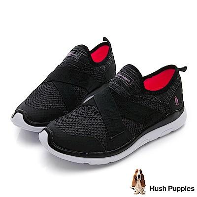 Hush Puppies Spoonbill 免綁帶健走鞋-黑色