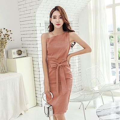 DABI 韓系修身時尚斜領露肩綁帶長版顯瘦無袖洋裝