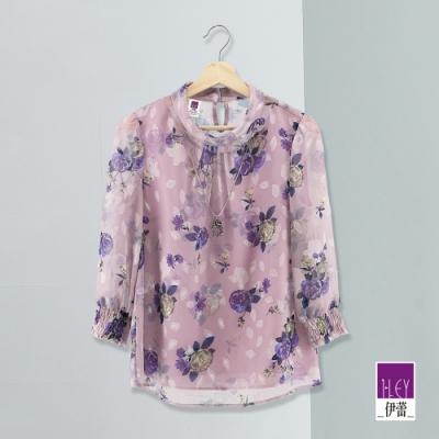 ILEY伊蕾 高雅玫瑰雪紡上衣(紫)