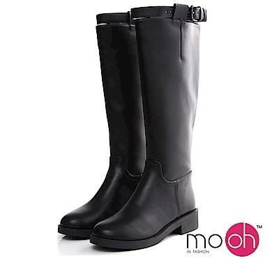 mo.oh-歐美真皮立體皮帶扣拉鍊修腿長靴-黑色