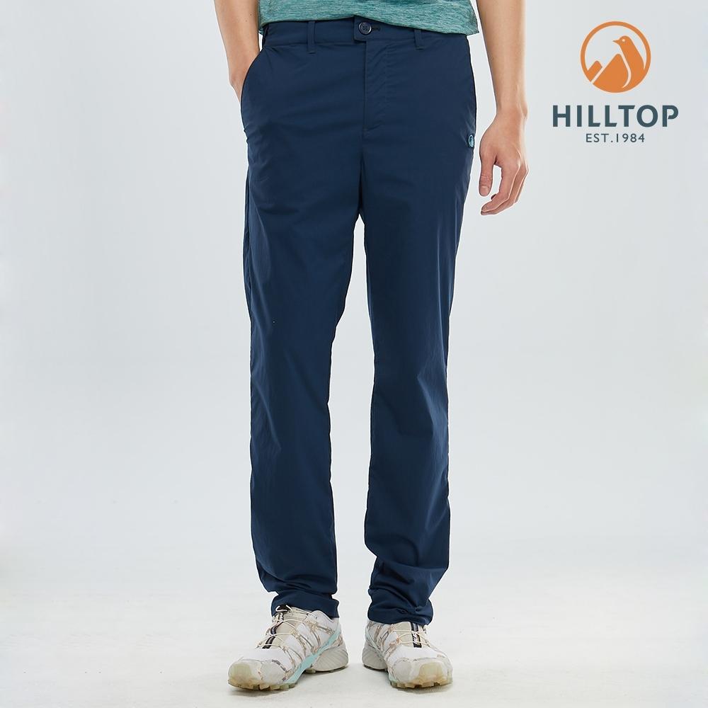 【hilltop山頂鳥】男款吸濕快乾彈性抗UV長褲S07MC6高貴藍