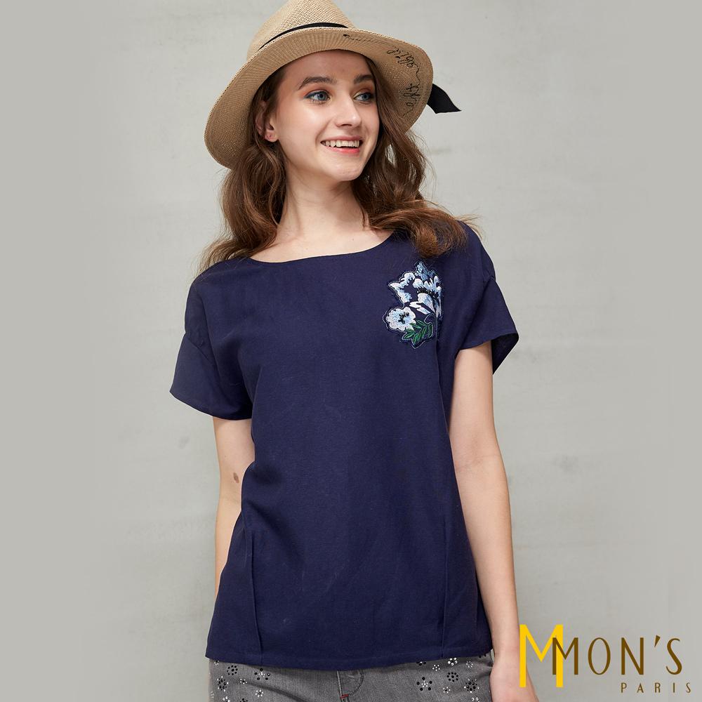 MONS 拼接造型棉麻上衣