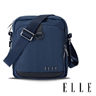 ELLE 都市再生系列 輕量多隔層搭配皮革設計直式斜/側背包-藍 EL83512