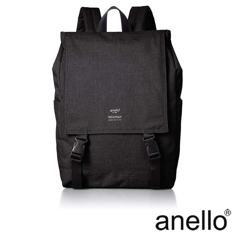 anello 高雅混色紋理休閒翻蓋式後背包 黑色