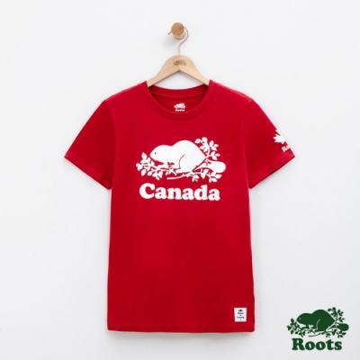 女裝Roots加拿大系列-海狸短袖T恤-紅色