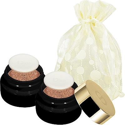 Dior 迪奧 精萃再生花蜜氣墊粉餅精巧版(#020)(4g)*2旅行袋組