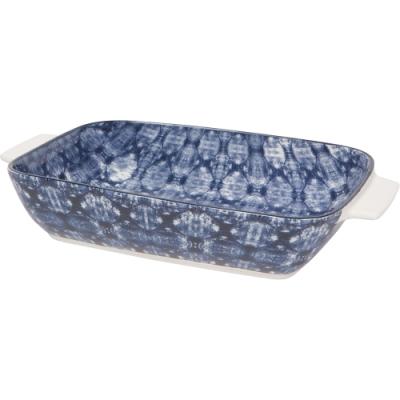 《NOW》圖騰長形深瓷烤盤(藍染27cm)