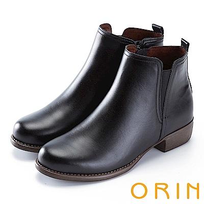 ORIN 簡約個性 復古牛皮拉鏈低跟短靴-黑色