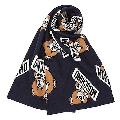 MOSCHINO 經典TOY小熊混織羊毛圍巾-深藍色