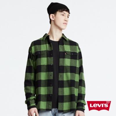 Levis 男款 法藍絨格紋襯衫 休閒版型 彈性布料 厚磅