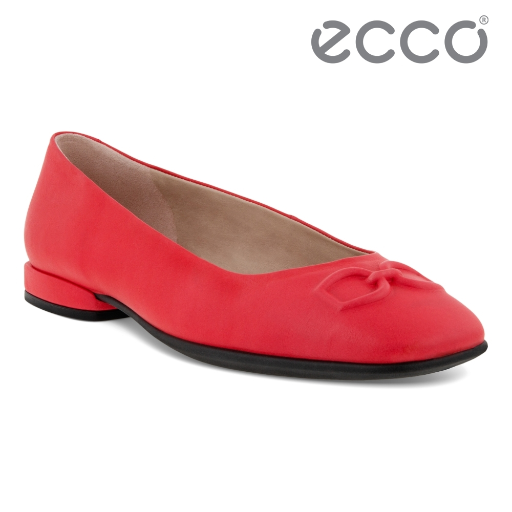 ECCO ANINE SQUARED 時尚方頭平底鞋 女鞋 木槿红
