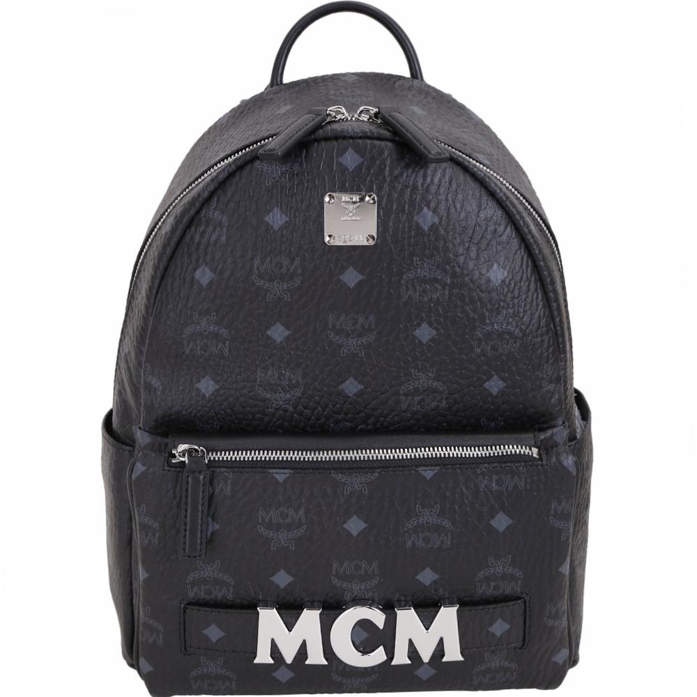 MCM Trilogie 經典塗層帆布皮革後背包(附可拆鍊帶提包/黑色)