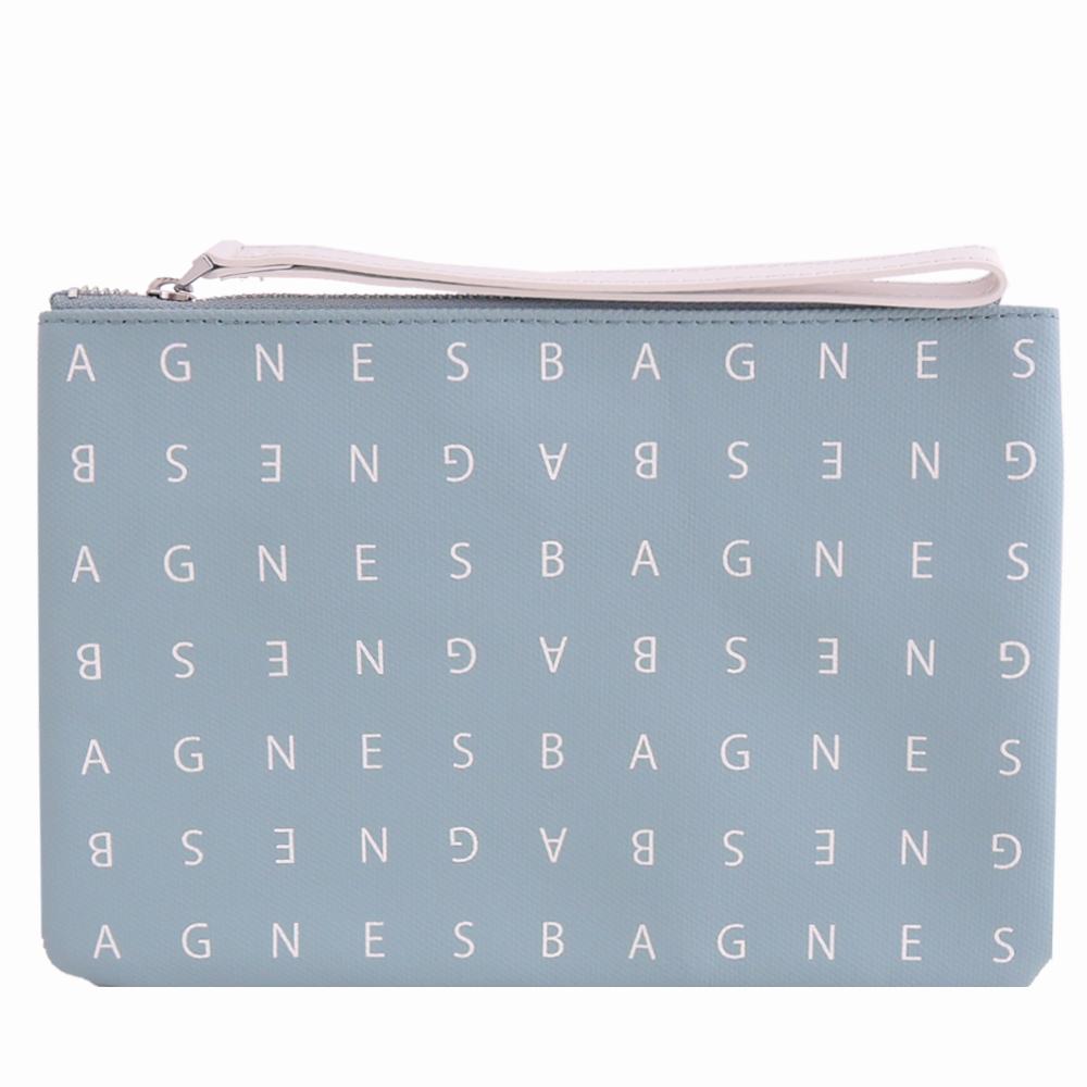 agnes b. LOGO標誌PU手拿包(小/藍) @ Y!購物
