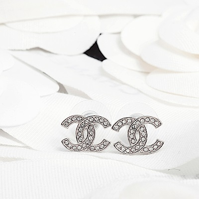 CHANEL 銀色水鑽小款穿式耳環