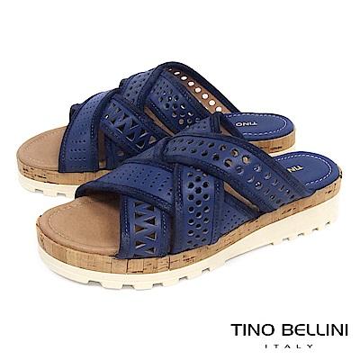 Tino Bellini 義大利進口造型鞋帶交錯厚底涼拖鞋_ 藍