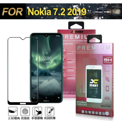 Xmart for NOKIA 7.2 2019 超透滿版 2.5D 鋼化玻璃貼-黑
