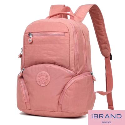 iBrand後背包 輕盈防潑水素色雙層多功能尼龍後背包(多色任選)