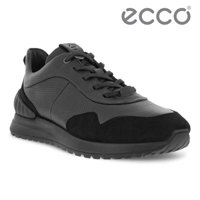 ECCO ASTIR 雅躍拼接皮革運動休閒鞋 男鞋 黑色