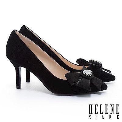 高跟鞋 HELENE SPARK 奢華晶鑽手工花飾麂皮美型尖頭高跟鞋-黑