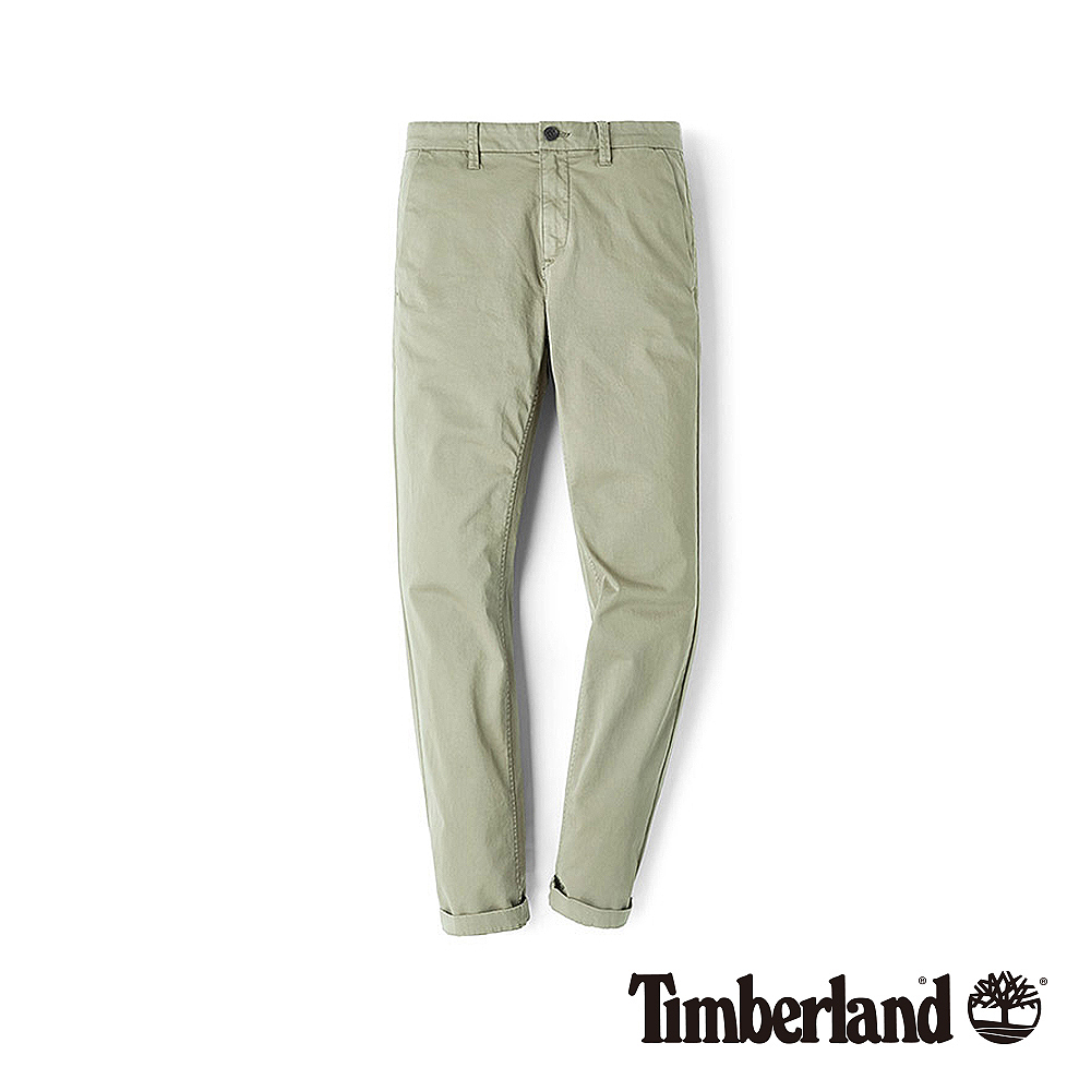 Timberland 男款卡其色彈力斜紋布直筒卡其褲|A1V6N