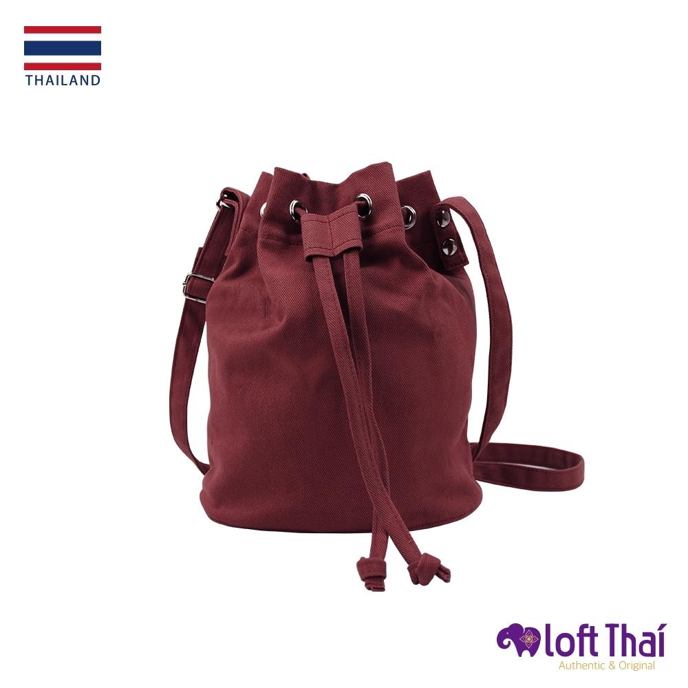 Loft THAI | 泰.兩用斜紋帆布水桶包 | burgundy
