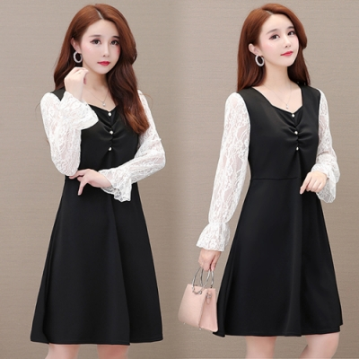 【韓國K.W.】(預購)蕾絲蓬蓬袖圓領長袖洋裝-1色