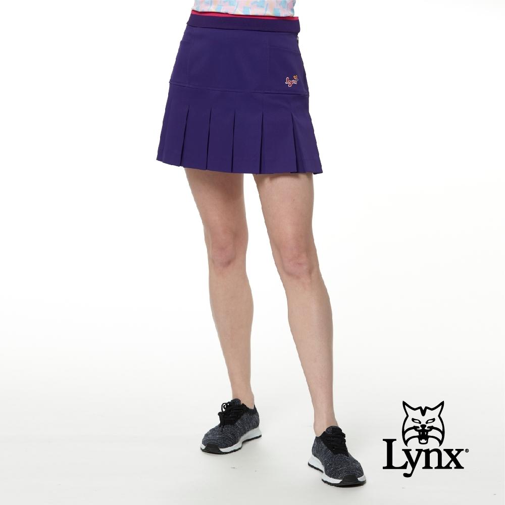 【Lynx Golf】女款日本進口布料高透濕防潑水裝飾縫扣百摺運動褲裙-紫色
