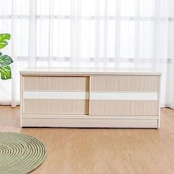 Birdie南亞塑鋼-4尺拉門/推門塑鋼坐式鞋櫃/穿鞋椅白橡+白色-121x41x50cm